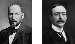 Santiago Ramón y Cajal ca. 1899. Wikimedia Commons | Charles Scott Sherrington ca. 1910. Wikimedia Commons