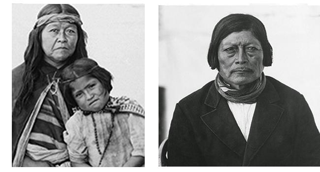 Izq. Esposa del cacique Foyel con hija del cacique Inacayal. Derecha. El cacique Foyel.
