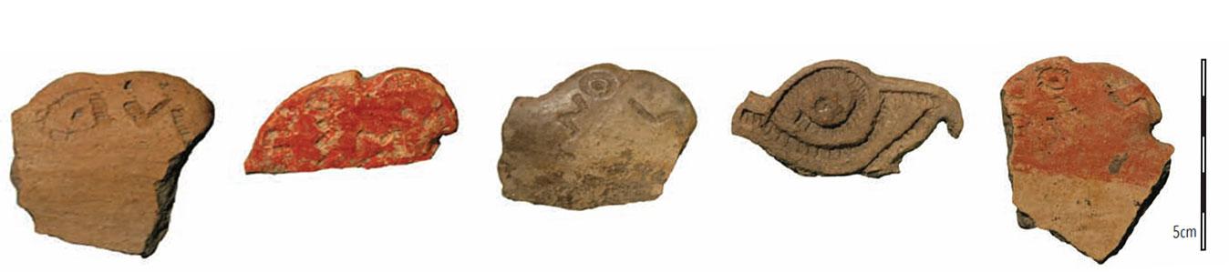 Figura 4. Representaciones de aves en las que se distinguen los ojos y el pico.