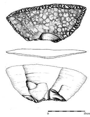Anverso, reverso y canto de un cuchillo lítico de tamaño comparativamente grande asociado con el laboreo de la quinua hace entre 1600 y 1200 años en la zona de Antofagasta de la Sierra. Dibujo Jorge Funes