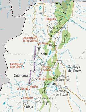 Localidades próximas a los sitios arqueológicos citados en el texto.