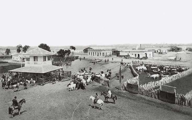 Corrales Nuevos o Nuevos Mataderos del Sud. Corresponde al predio ubicado algo al sudoeste de los Corrales Viejos, donde hoy está el parque Patricios. Las instalaciones se inauguraron en 1872 y estuvieron en uso hasta 1902. Foto Samuel Rimathé, ca. 1895.