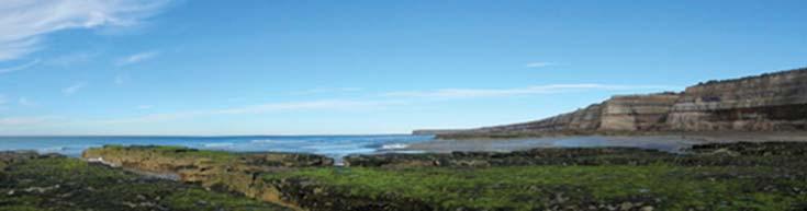 Zona intermareal rocosa expuesta con marea baja en Puerto Pirámides, Chubut. Foto María Bagur