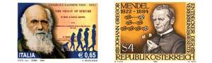 Sellos postales conmemorativos de Gregor Mendel y de Charles Darwin.