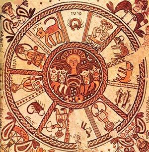 El zodíaco en el mosaico de piso de la sinagoga Beit Alpha, Israel. Siglo VI. Foto Wikimedia Commons