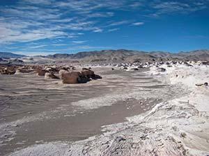 Campo de rocas volcánicas en el sur de la puna.