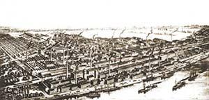 Las instalaciones de BASF (Badische Anilin und Soda Fabrik) en 1890, en Ludwigshafen, sobre el Rin. La industria química alemana de fines del siglo XIX fue uno de los pilares de la segunda revolución industrial que, a diferencia de la primera del siglo XVIII, se fundó en los progresos de la ciencia, en especial la química.