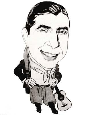 Carlos Gardel o Charles Romuald Gardès (1890-1935), el más famoso de los insoumis de la Argentina o infractores de la ley francesa de servicio militar, nacido en Toulouse en 1890. Caricatura aparecida en Caras y Caretas. La convocatoria a las armas llegó a sus familiares en Francia. Para evadirla recurrió a sus contactos con la policía y los políticos y obtuvo un falso certificado de nacimiento en Uruguay (en 1887), con el que también quedaba a salvo de las obligaciones militares argentinas.