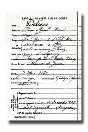 El sargento Pierre Delcros, del 171º regimiento de infantería, nació en 1892 en la Argentina y murió por heridas de guerra el 5 de mayo de 1917. La partida de defunción proviene del monumental registro Morts pour la France, que incluye a 1.300.000 nombres y posibilita acercarse indirectamente a la movilización de la comunidad franco-argentina. La fuente, sin embargo, impide distinguir entre quienes viajaron expresamente desde la Argentina de los que residían en Europa desde antes de la guerra. El lugar de reclutamiento –en este caso, Rodez, una ciudad del sur de Francia– no es necesariamente un indicador de lo segundo.