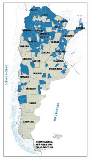 Figura 3. Departamentos provinciales con una contribución relativa de explotaciones de pequeños productores familiares superior a la media nacional (66%). Elaborado con datos de Obstchatko et al. 2007.