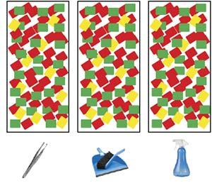 Esquema de los tres rectángulos en que actuarán los grupos de control para realizar respectivamente tratamientos manual, mecánico y químico.