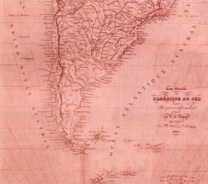 """Mapa de América del Sur (1836) de H. Dufour, ejemplo de la denominación geográfica atribuida al territorio del Río de la Plata. Junto a Uruguay, Paraguay, Chile y Bolivia, la región correspondiente a la Argentina se designa """"La Plata"""" y, más al sur, """"Patagonia""""."""