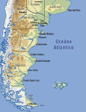 Principales puertos de la costa atlántica argentina donde se han encontrado diversas especies de caracoles con variable intensidad de imposex.