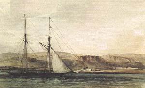 EL ADVENTURE EN PUERTO DESEADO. ACUARELA DE CONRAD MARTENS, 23 DE DICIEMBRE DE 1833. COLECCION PARTICULAR.