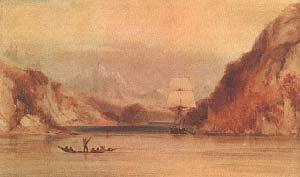 EL BEAGLE EN LOS CANALES FUEGUINOS. ACUARELA DE CONRAD MARTENS, S.F.COLECCION PARTICULAR