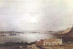 ENTRADA AL PUERTO DE SAN JULIÁN. ACUARELA DE CONRAD MARTENS. 8 DE ENERO DE 1834. COLECCIÓN PARTICULAR.