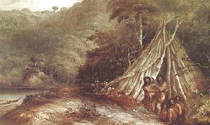 GRUPO DE FAMILIA DE FUEGUINOS. ACUARELA DE CONRAD MARTENS, S.F. COLECCIÓN PARTICULAR