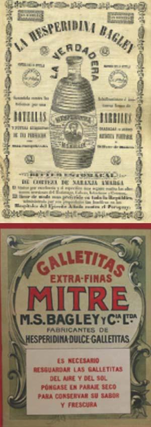Arriba Etiqueta de los primeros tiempos, ca. 1865. Abajo Etiqueta de las galletitas Mitre.