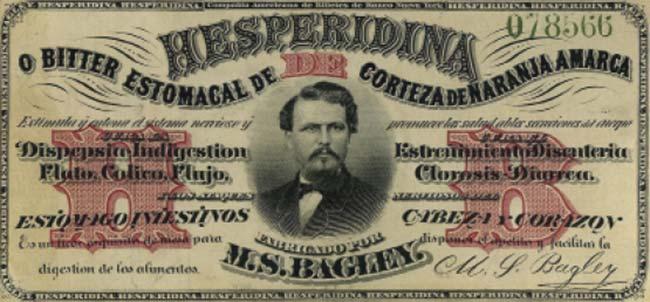 Etiqueta de seguridad numerada impresa en los Estados Unidos por la American Banknote Company, que Bagley adoptó en 1867 para impedir falsificaciones.