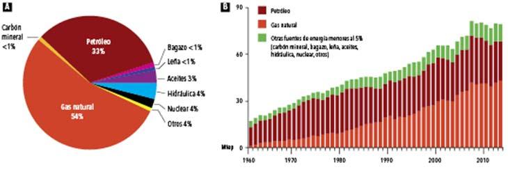 Figura 1. Matriz energética argentina correspondiente a 2012 y su dinámica en el tiempo. (A) Participación relativa de diferentes fuentes primarias en el total de la oferta de energía. (B) Dinámica temporal de la cantidad en millones de toneladas equivalentes de petróleo (Mtep) de las distintas fuentes de energía. Fuente: Secretaría de Energía de la Nación. La categoría aceites incluye polisacáridos.