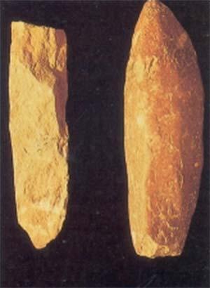 Fig. 6. Dos grandes instrumentos hallados junto a huesos de megaterios y caballos americanos.