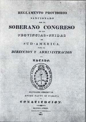 """Reglamento Provorio de 1817, """"mandado a observar entre tanto se publica la constitución"""""""