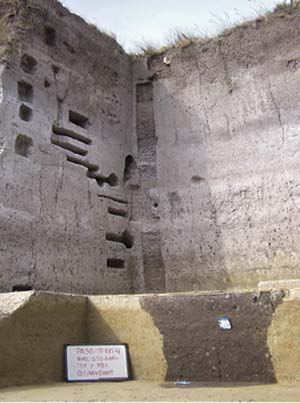 Las excavaciones de Paso Otero 4 en noviembre de 2009. Adviértase la mancha de sedimento oscuro en forma de campana invertida: corresponde al pozo de agua comentado en el texto.