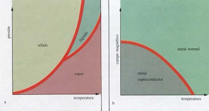 Fig. 3. (a) Diagrama de fase del sistema sólido-líquido-vapor. (b) Diagrama de fase del sistema metal normal-metal superconductor.