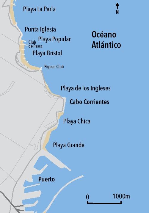 La ciudad y las playas centrales de Mar del Plata. Mapa dibujado sobre la base de un plano de LJ Rosso, 1950.