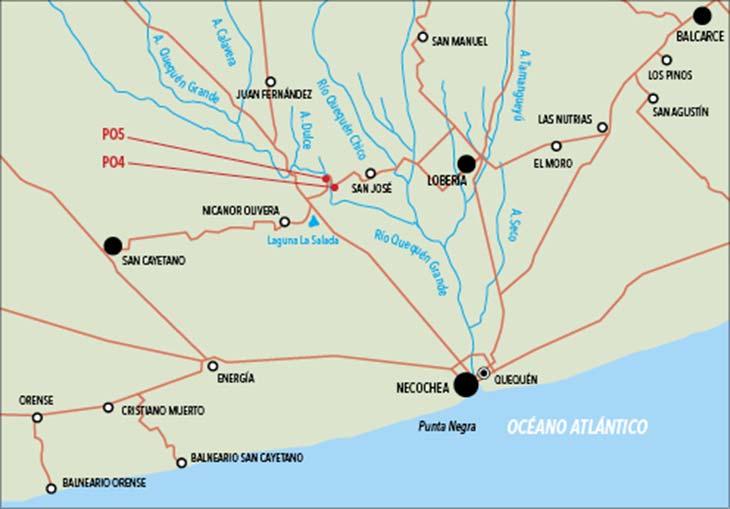 Ubicación de los sitios arqueológicos Paso Otero 4 y Paso Otero 5