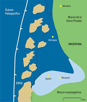 Esquema de la paleogeografía de la cuenca neuquina hace 150 millones de años, en la época en que se depositaron los organismos marinos que originaron el petróleo hoy en explotación. En azul el océano Paleopacífico, en un golfo del cual (azul claro) se produjo la precipitación de los carbonatos, los cuales soterraron la materia orgánica que originó el petróleo y el gas; la línea blanca marca el lugar de la subducción de la placa oceánica bajo la continental; los puntos negros señalan la actual frontera entre Chile y la Argentina, y las manchas ocres indican una alineación de volcanes al oeste del mencionado golfo en el que se formó la cuenca petrolera.