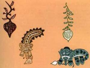 Se han encontrado restos de ahipa asociados a momias precolombinas de la cultura Nasca. También son comunes las representaciones en piezas textiles y cerámica. Estas exhiben tanto representaciones botánicas bastante fieles como representaciones notablemente estilizadas. Figuras redibujadas de Yakovieff, 1993