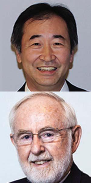 Arriba: Takaaki Kajita. Abajo: Arthur McDonald