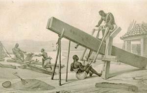 Carpinteros.  (Tomado de Debret, J.B., Voyage pittoresque et historique au Brésil, Paris, Firmin Didot, 1834-39).