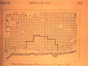 Mapa de la expansión de la ciudad de Buenos Aires, entre 1767 y 1836, figura en la segunda edición de Parish.