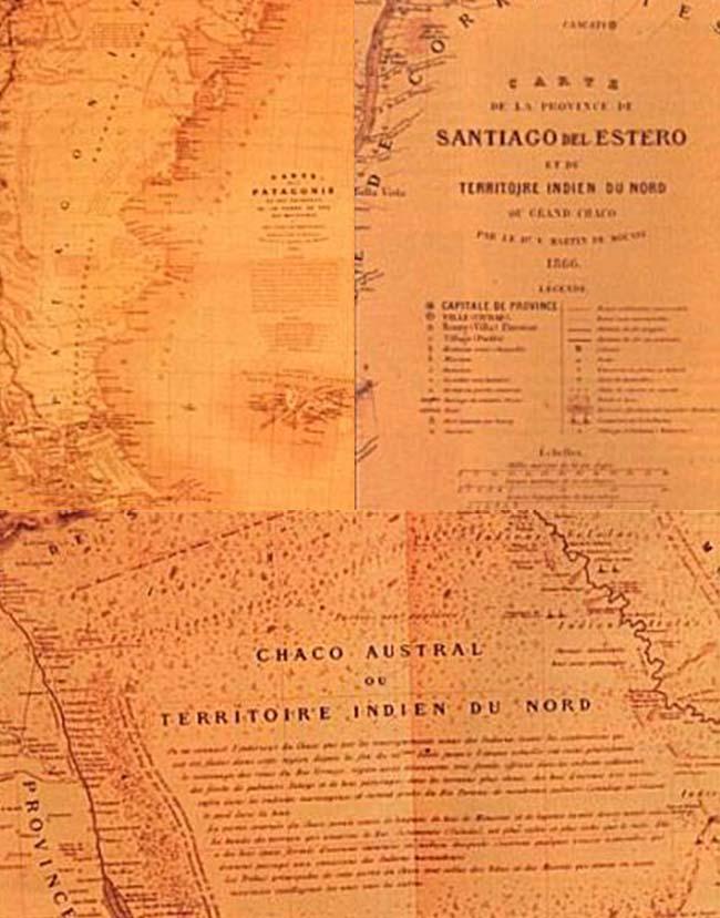 Detalles y leyendas de los mapas del Gran Chaco -también llamado Territorio Indio del Norte- y Patagonia. Una de las estrategias cartográficas del geógrafo de la Confederación Argentina, Martín de Moussy, era rellenar con comentarios las regiones inhóspitas y poco exploradas.