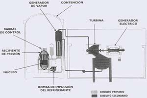 Fig. 1 - Esquema simplificado del reactor de agua a presión (PWR).