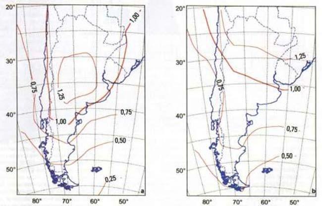 FIGS 3a y 3b Cada una de las curvas representadas sobre el mapa pasa por zonas en las que se produciría el mismo cambio (indicado en el valor de cada curva) en el promedio ponderado de la temperatura local, expresado por grado de aumento de la temperatura media global, para el caso de que la concentración de CO2 atmosférico sea el doble del valor actual. Se representan los valores en el verano (a) y en el invierno (b).