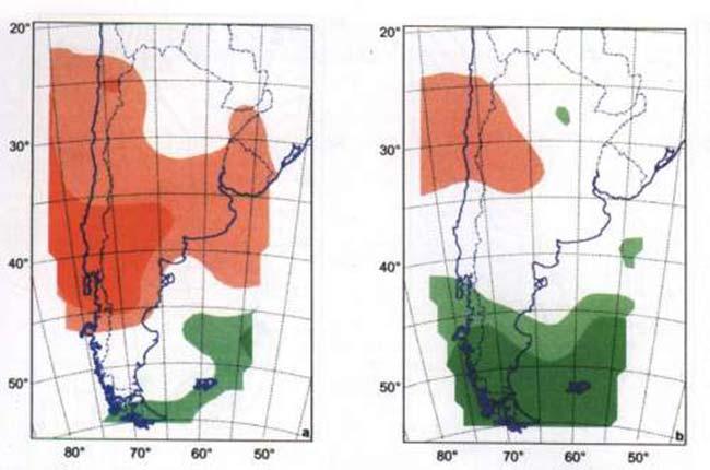 FIG 5a y 5b En las regiones coloreadas verdeo oscuro los cinco modelos ensayados predicen aumento de precipitación, mientras que en aquellas coloreadas verde claro, cuatro de los cinco modelos predicen aumento de la precipitación. Los cinco modelos predicen disminución de la precipitación en las zonas rojo oscuro; mientras que cuatro de los cinco lo hacen en las zonas rojo claro. Se señalan datos para el verano (a) y el invierno (b).