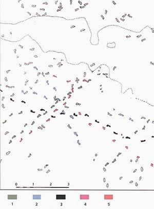 Fig 4. Plano de relevamiento de las pisadas humanas en Monte Hermoso 1, se muestra el sector sobre el que se hizo el análisis estadístico: Grupo 1: Huellas atribuibles a niños (verde) Grupo 2: Huellas atribuibles a adolascentas o mujeres (turquesa) Grupo 3: Huellas de adulto masculino (negro)  Grupo 4: Huellas de individuos corriendo (rojo).