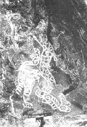 Figura zooatropomorfa pintada en color blanco, Cueva de la Calendaria, Catamarca. Probablemente sea la representación de un shamán transformado en jaguar durante el trance.