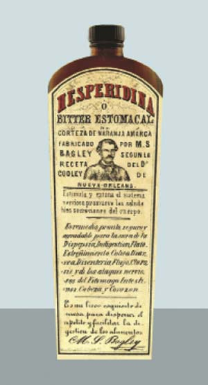 La primera botella de Hesperidina.