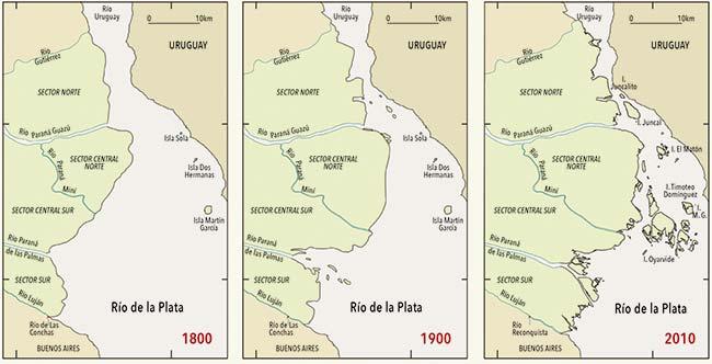Avance del delta del Paraná entre 1800 y 2010. Adviértase cómo la desembocadura en el Luján del río de Las Conchas (actual Reconquista) quedó en 2010 a alrededor de 7,6km del Río de la Plata, una distancia que no existía en 1800. Esto significa que dicho sector el delta avanzó a una velocidad media de 36,2m/año.