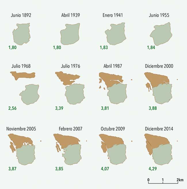 Evolución geomorfológica de las islas Martín García (verde) y Timoteo Domínguez (ocre). La primera, un pequeño afloramiento rocoso, estuvo históricamente en jurisdicción de Buenos Aires. La soberanía de la segunda, formada por acumulación de los sedimentos aportados por el Paraná, fue objeto de discusiones binacionales a poco de haberse formado en la década de 1960. En 1973 ambos países acordaron adjudicarla al Uruguay. En verde oscuro, la superficie de ambas islas en km2.