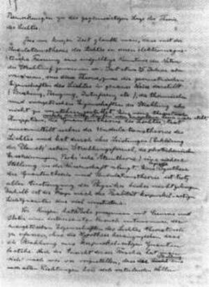Reproducción de la primera pagina del manuscrito original de la comunicación a la ABC