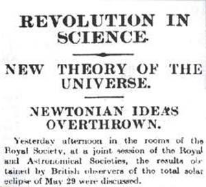 """Fig 9. En noviembre de 1919, el diario inglés The Times, con el titulo de """"Revolución en la ciencia"""", anunció el derrumbe de las ideas de Sir Isaac Newton sobre el universo."""