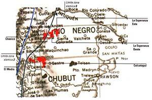 Fig 2 Zonas preseleccionadas en las provincias del Río Negro y del Chubut para la posible instalación de un repositorio de residuos de centrales eléctricas nucleares argentinas.