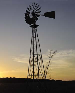 Tradicional molino de viento de la llanura pampeana, de marca Aermotor, una de las más difundidas en el país. La foto pudo haber sido tomada en cualquier localidad argentina, del Chaco a la Patagonia, pero en realidad fue tomada en Texas, donde hacia fines de la década de 1880 había sido fundada la firma Aermotor, que luego estableció una sucursal en la Argentina.