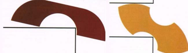 Izq: Fig.1a. Aproximación al problema del sófa dado por los matemáticos Francis y Guy. Der: Fig.1b. Aproximación al problema del sófapara un pasillo en forma de T dada por Conway