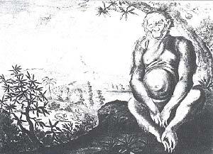 Fig. 1 Orang Outang de Angola. Ilustracion de Description de l´Afrique, 1686, Amsterdam (Universiteits Bibliotheek, Amsterdam)